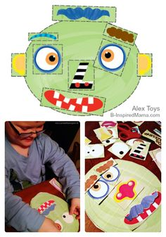 Free Printables for Kids - Make a Monster Face Activity - Sponsored by Alex Toys at B-Inspired Mama Monster Activities, Monster Crafts, Toddler Activities, Activities For Kids, Crafts For Kids, Theme Halloween, Halloween Activities, Big Green Monster, Alex Toys