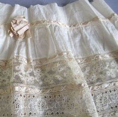 Antique 19thC Linen  Normandy LACE Flounce Trim Slender SILK Ribbons * DOLL