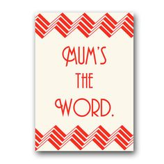Mum's the Word . Funny British mother's day card . by YourMumRang, £2.85