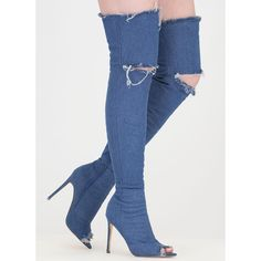 Distress Signal Denim Thigh-High Boots (67 CAD) ❤ liked on Polyvore featuring shoes, boots, blue, over-the-knee boots, stretch thigh high boots, high heel stilettos, denim thigh high boots, over the knee boots and over the knee fringe boots