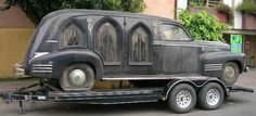 Vintage hearse with cathedral windows