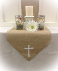 Burlap Table Runner with a Cross in  12 14 & 15 by CreativePlaces