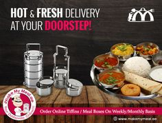 Makemymeal is offering online tiffin service, dabbawala meal box and food delivery services on daily, weekly and monthly basis in Dubai, Sharjah,UAE. Food Graphic Design, Food Poster Design, Menu Design, Logo Design, Tiffin Menu, Tiffin Box, Fresh Delivery, Pamphlet Design, Meal Delivery Service