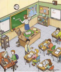 classroom 1 教室 place english through pictures Dictionary For Kids, Picture Dictionary, English Lessons, Learn English, Learn French, How To Speak Italian, Picture Comprehension, Picture Composition, Picture Writing Prompts
