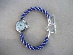 Silver and Blue Kumihimo Beaded Bracelet Watch