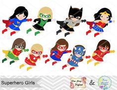 27 Little Girl Superheros Digital Clip Art by TracyDigitalDesign