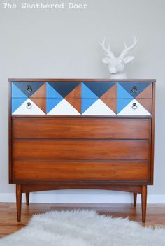Mid-century modern console gets a geometric and fun makeover