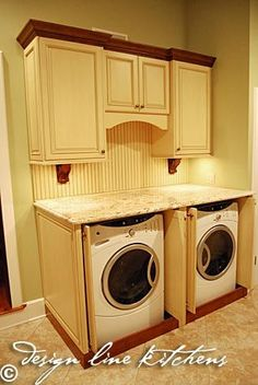 Washer and dryer cover...good call, you dont have to worry about laundry falling behind or between them:) Also, I love these colors