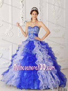 Zebra Print And Organza Ruffles White Blue Dress Quinceanera