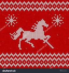 """""""norwegian Pattern"""" Images, Stock Photos & Vectors sweater pattern with horses seamless pattern by Tueris, via Shutterstock Knitted Mittens Pattern, Fair Isle Knitting Patterns, Knitting Machine Patterns, Knitting Charts, Baby Knitting, Cross Stitch Horse, Unicorn Cross Stitch Pattern, Loom Beading, Beading Patterns"""
