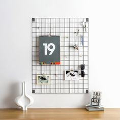 Block white wire mesh memo-board. UK designed and made memo boards. Stylish and versatile kitchen notice boards. Magnetic memo-board. Modern notice boards.