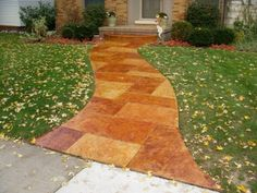 Stained sidewalk is great idea...a must for the 30X30 concrete patio in the backyard at the new house!