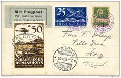 SUIZA. Tarjeta circulada 1er. vuelo Romanshorn-Zurich, el 10/6/24. Viñeta conmemorativa.
