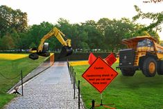 "This ad functions through an installation with in Maya Lin's Vietnam War Memorial and is meant to raise awareness to the deaths from the past and present cause my Landmines. 3 Million individuals died in the war from landmines. Using the metaphor of mining equipment a scene alters visitors of the issue. Large sign ""Caution (landing ahead, at least you can see these ones). Small Sign: ""In the same way 60% of our loved ones died, the Vietnam war is still killing people. Watch for land mines"" Maya Lin, Land Mine, Mining Equipment, Guerrilla, Vietnam War, Alters, First Love, Monster Trucks, The Past"