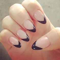 Black Heart Tips Nails images