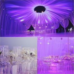 Amazing wedding decor by Paul Nasr in Lebanon. The reception is backlit with purple and has invisible chairs. Wedding Reception Lighting, Romantic Wedding Decor, Wedding Decorations, Aisle Decorations, Wedding Events, Our Wedding, Dream Wedding, Wedding Ideas, Wedding Things