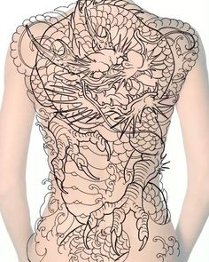 Dragon Tattoo Outline, Dragon Tattoo Back, Asian Dragon Tattoo, Japanese Dragon Tattoos, Japanese Sleeve Tattoos, Dragon Tattoo Designs, M Tattoos, Frog Tattoos, Irezumi Tattoos
