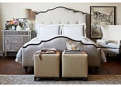 Olga Button-Tufted Linen Bed, Queen | One Kings Lane