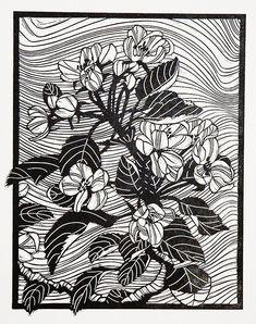 'Blossom' - Linocut by Helen Roddie