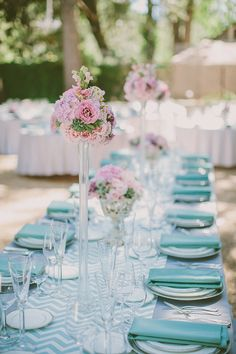 tall pink centerpieces | Kris Holland Photography | Glamour & Grace