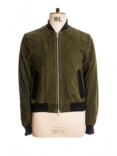 Suede Bermondsy Bomber in Green Suede by Oliver Spencer