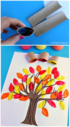 Toilet Paper Roll Leaf Stamping Fall Tree Craft #Fall craft for kids | CraftyMorning.com L-leaf pyssel barn toarulle höst träd