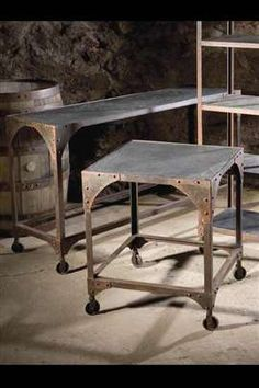 metal and slate console and side table - industrial/distressed look - I want this in my living room