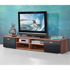 Contemporary TV Stand For Flat Screen In Walnut With Gloss Doors