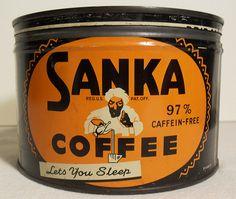 Sanka 1940s Vintage Coffee Can