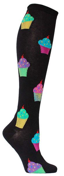 black knee high socks with colorful cupcakes