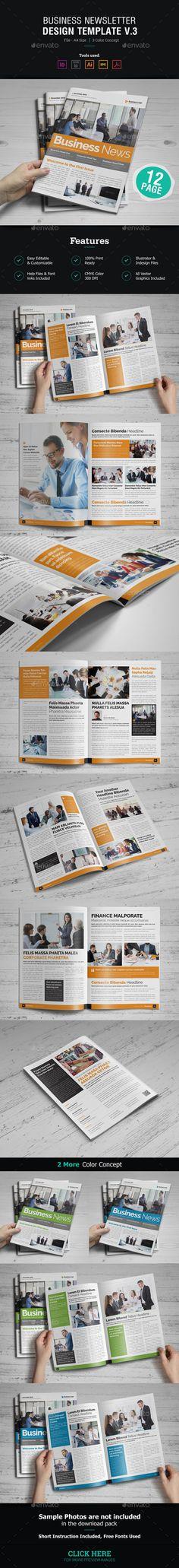 #Newsletter #Design v3 - Newsletters Print #Templates Download here: https://graphicriver.net/item/newsletter-design-v3/18217871?ref=alena994