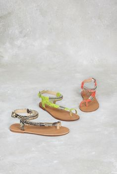 Carvela 'Klipper' leather snakeprint sandals in beige, neon yellow and coral