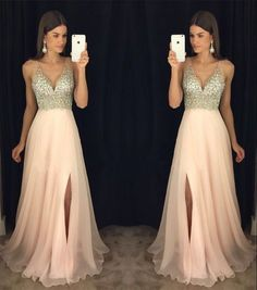 Prom Dresses 2018 New Arrival Prom Dress,Modest Prom Dress,sparkly crystal beaded v neck open back long chiffon prom dresses 2017 pageant evening gowns with leg slit Long Prom Dresses Uk, Sparkly Prom Dresses, Prom Dresses 2017, Grad Dresses, Modest Dresses, Pretty Dresses, Bridesmaid Dresses, Beaded Prom Dress, Prom Gowns