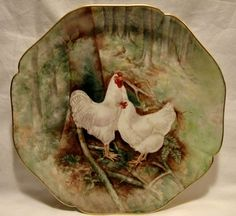 """Gorgeous 12"""" Limoges Porcelain Hand Painted Charger ~ Rooster and Hen in Forest ~ William Guerin Limoges France 1900-1932  For sale on Ruby Lane #RubyLane"""