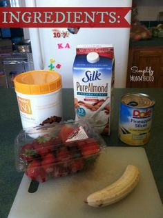Banana Split Protein Smoothie-8oz  Milk, 2 scoops Chocolate Protein Powder, 1/2c of pineapple chunks, 1C sliced strawberries, 1 banana