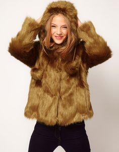 Hood Swing Fur Coat With Pom Poms