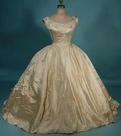 c. 1956 PRISCILLA OF BOSTON, Sold at Neiman Marcus Magnificent Candlelight Satin Beaded Split-Trained Wedding Gown