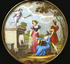 """Early French hand coloured combination of a powder-box and an optical tool. The lady in blue has a magic lantern in her lap that projects images of two lovers onto the side of a tomb. This box measures c. 1.5"""" high by 4"""" wide (4 x 10 cm) and dates to the mid 19th Century.    http://luikerwaal.com/kunstkitsch_uk.htm"""