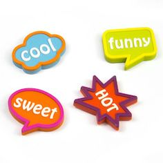 Speech bubble magnets, set of 4 Bunt, 3d Printing, Magnets, Bubbles, Cool Stuff, Sweet, Printer, Color, Homemade