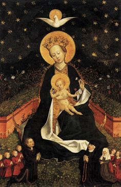 Madonna on a Crescent Moon in Hortus Conclusus // 1450s // Unknown Master, Cologne // Staatliche Museen, Berlin // An unusual combination of the Woman of the Apocalypse and a Madonna of Humility