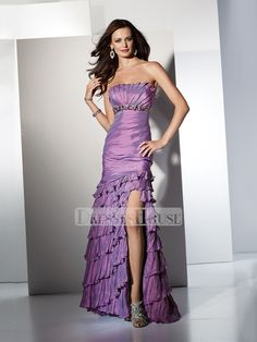 Elegant mermaid ruffled Crumb-catcher taffeta prom dress PD10404