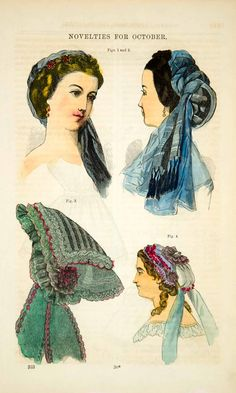 1862 hand-tinted color in-text wood engraving of several accessories for the fashionable Victorian lady: Figs. 1 & 2 the Almira headdress (front and back view); Fig. 3 the Fauchon cap; and Fig. 4 a breakfast cap made of white muslin, trimmed with lace and ribbon.
