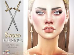 Sims 4 CC's - The Best: Sword Earrings by Pralinesims