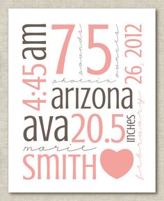 Custom Personalized Nursery Baby Child Name Birth Stats by theps, $20.00