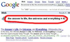 The answer to life, the universe and everything = 42 Answer To Life, Douglas Adams, Hitchhikers Guide, Guide To The Galaxy, Don't Panic, Everything, Universe, Nerdy