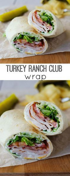Turkey Ranch Club Wraps _ These are probably our fave. They're so great for lunch or dinner, & taste like a million bucks. :) Filled with sliced turkey, bacon, cheese, & of course ranch dressing. They're so delicious & satisfying. A great way to feed hungry bellies without turning on the oven!