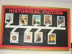 I thought that this was a neat Historical Fiction Bulletin Board it uses a time line to display book covers. This is a fun bulletin board you could do in your class room to help teach your students. School Library Displays, Elementary School Library, Bulletin Board Display, Classroom Bulletin Boards, Library Lessons, Library Books, Library Ideas, Library Programs, Library Design