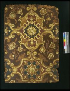 Embossed leather panel, with a symmetrical 'Louis XIV'-design of scroll diaper pattern with flowers. Plain leather, partly with a dark-brown and red ground, and heightened with gold. ca 1850, Paris | Dulud, Jacques Michel | V Museum, London
