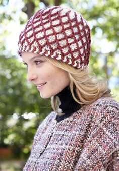 Patons Classic Wool Worsted - Lattice Hat (crochet)