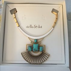 """✨NIB Stella & Dot Sunray Pendant 3 in 1 necklace ✨NIB Stella & Dot Sunray Pendant 3 in 1 necklace . Vintage gold with bold turquoise and a touch of white enamel form this versatile piece. Wear as a modern statement or detach pendant for a simple collar necklace. The pendant can do double duty by fitting beautifully on to our City Slim clutch (also listed in my closet )  as a decorative touch.   Vintage Gold Plating 15.5"""" with 3.5"""" extender Lobster Clasp Closure Stella & Dot Jewelry Necklaces"""